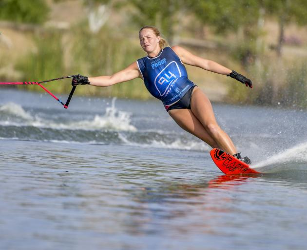 Mount Aspiring College pupil Meg Harraway competes in the junior world waterskiing championships in Spain last year. Photo: Supplied