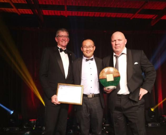 Oceania Dairy's team (from left) supply and environmental manager Shane Lodge, director Shinqing...