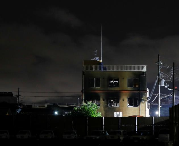 Kyoto Animation building which was torched by arson attack is seen in Kyoto. Photo: Reuters