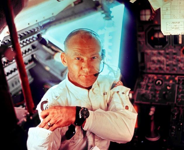 This Nasa file image shows US astronaut Edwin ''Buzz'' Aldrin, one of three Apollo 11 crew...