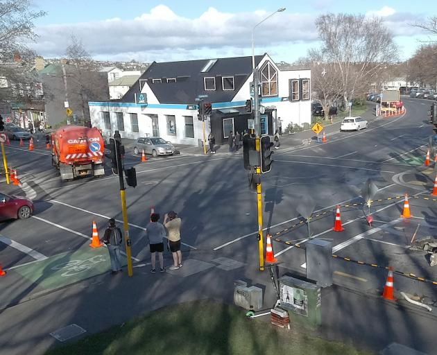 Work has started on a Barnes Dance at the Cumberland and Albany Sts intersection, one of two on Albany St. Photo: Gregor Richardson