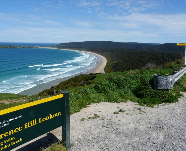 The view over Tautuku Bay, Catlins, from Florence Hill Lookout on the Southern Scenic Route. This...