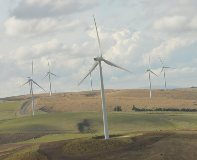 The Mahinerangi wind farm, in the Clutha district, is the only significant wind power generation near Dunedin. Photo: Stephen Jaquiery