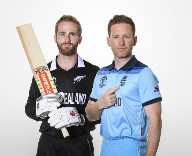Captains Kane Williamson and Eoin Morgan pose ahead of tonight's Cricket World Cup final at Lord...