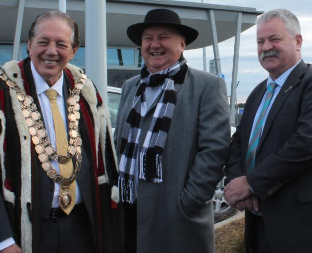 Regional Economic Development Minister Shane Jones (centre) is welcomed to the South by...