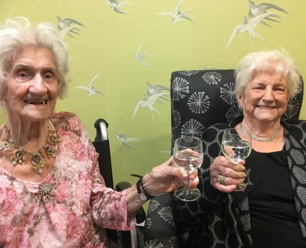 Sisters Barbara Cruickshank (left) and Agnes Halloran turned 103 and 97, respectively, this week....