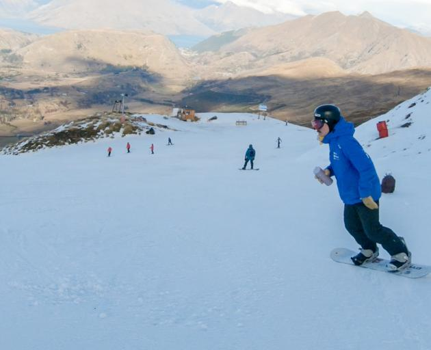 Martin Stokes on the slopes at Coronet Peak on Wednesday. Photo: NZSki