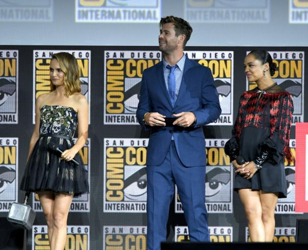 'Thor' stars Natalie Portman, Chris Hemsworth and Tessa Thompson speak at the Comic-Con panel. Photo: Getty Images