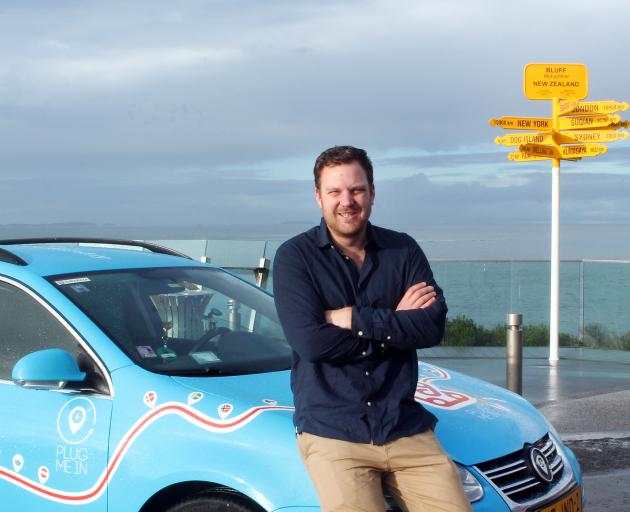 Dutchman Wiebe Wakker celebrates the end of his 100,000km low-emission journey in Bluff. PHOTO:...