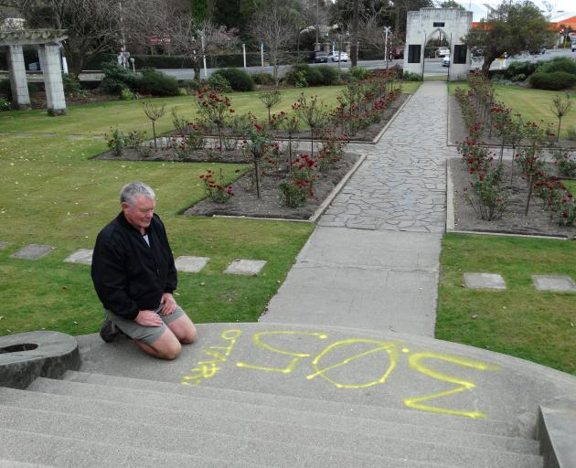 Squadron 26 (Oamaru) Air Training Corps commander Derek Beveridge at the North Otago Returned and Services Association Garden of Memories in Oamaru, which was targeted by vandals at the weekend. Photo: Daniel Birchfield