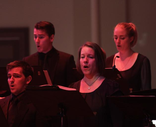 Brendon Shanks (top left) performs Passio at the Auckland Arts Festival with Voices New Zealand.  Photo: Trudie Kessick
