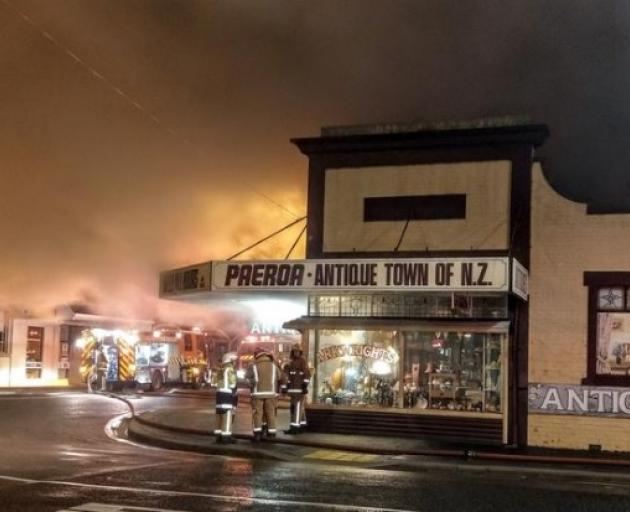 Firefighters at the scene of the fire at the Pizza Box in Paeroa. Photo: Supplied / Phil Maurice