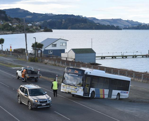 A Ritchies became stuck at the St Leonards Yacht Club this afternoon. Photo: Gregor Richardson