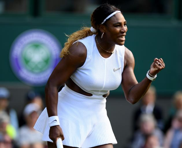 Serena Williams celebrates during her first round win at Wimbledon. Photo: Getty Images