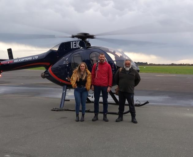 Preparing for takeoff is (from left) sustainability officer Kate Dunlevey, compliance technical officer Ciaran Thayer and compliance officer Rob Bird. Photo: Environment Southland