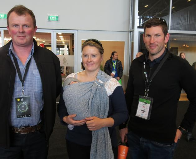 Enjoying a break after a workshop are (from left) Shane Griffin, of Dublin, Jaime McCrostie with Gretchen Worker (9 weeks) and partner Ben Worker, of Thornbury.