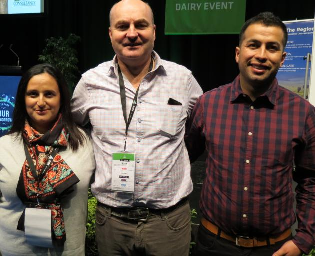 Dairy farmer Maka Morales, of Mokotua, talked about her and husband Miguel Ortiz's career in the industry, during the BrightSide portion of the South Island Dairy Event in Invercargill, last week. Roslin Consultancy's Alex Hunter (centre), of Alexandra, p