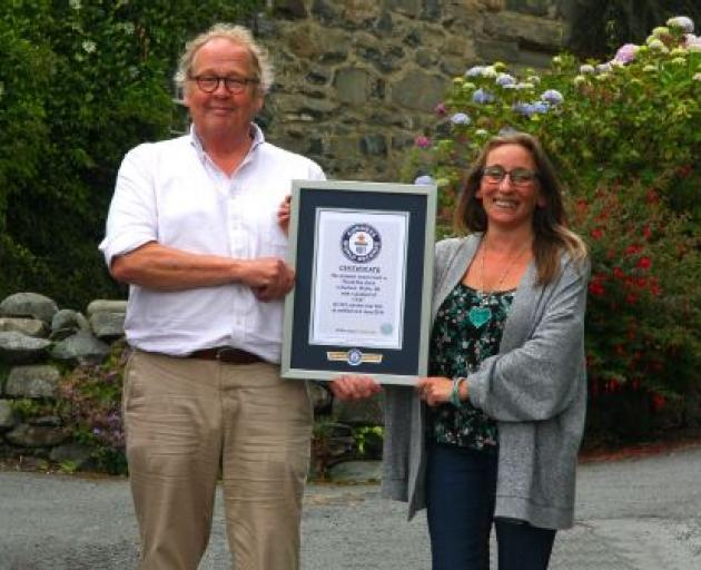 Co-administrators Gwyn Headley and Sarah Badham with the Guinness World Records certificate for...