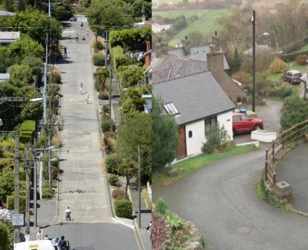 Dunedin's Baldwin St (left) has lost its title of world's steepest street to Ffordd Pen Llech in...