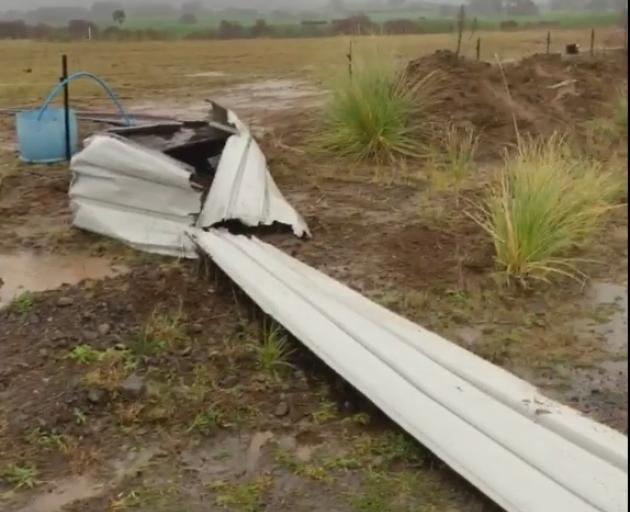 Trail of destruction as tornado rips through Taranaki. Photo: Mike Green