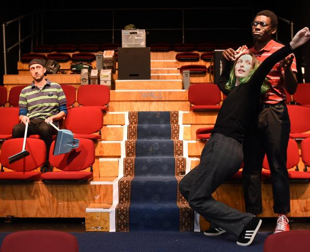 Rehearsing The Flick at Allen Hall are (from left) Nick Dunbar (Sam), Sam Shannon (Rose) and Timothy Itayi (Avery).