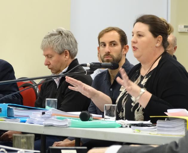 Horticulture New Zealand South Island environmental adviser Rachel McClung gives evidence at the hearing into plan change 13 yesterday. Photo: Kerrie Waterworth