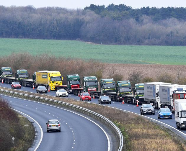 A line of lorries is seen during a trial between disused Manston Airport and the Port of Dover of...