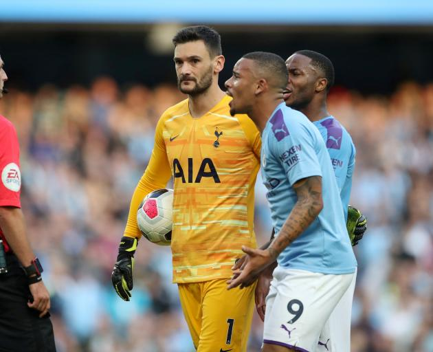 Manchester City's Gabriel Jesus remonstrates with referee Michael Oliver after a goal was disallowed during an English Premier League match. Photo: Reuters