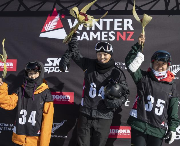 Dominating the womens' snowboard halfpipe finals yesterday were the Chinese trio of (from left) Leng Qiu (3rd), Xuetong Cai (1st) and Shaotong Wu (2nd). Photo: Winter Games NZ