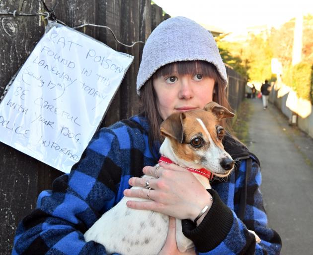 Alyssa Carty is sounding the alarm after her dog, Poppy, nearly ate rat poison pellets neatly...