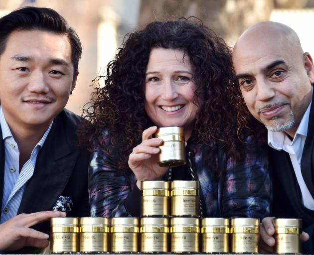 Manuka honey-based cosmetic company Bee yu co-owners Andre Shi (left), Sally Richards and Jeevan Verma, of Dunedin. Photo: Peter McIntosh
