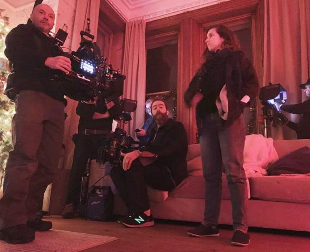A photo by Black Christmas producer Adam Hendricks shows filming of a point-of-view shot. The...