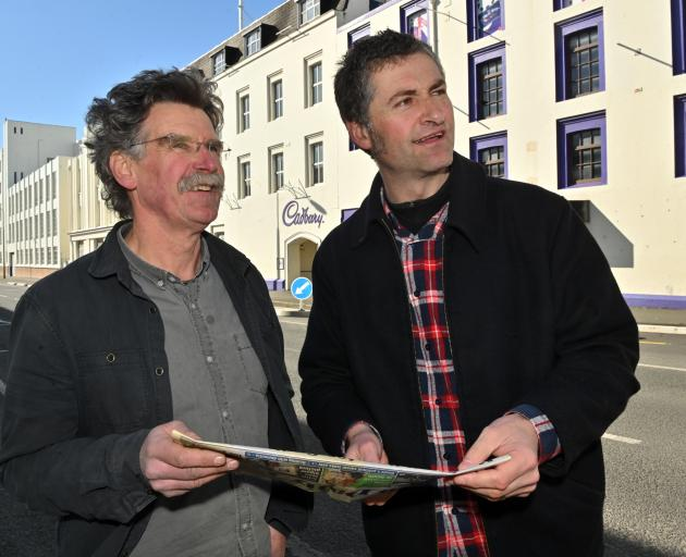 Ted Daniels (left) and Athol Parks want to save heritage buildings in the Cadbury factory block....