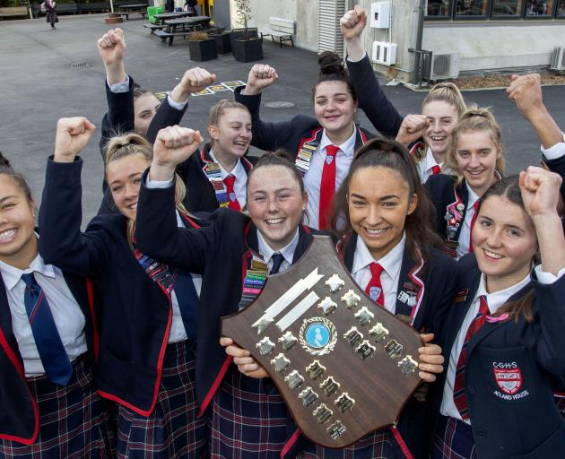 The Christchurch Girls' High School netball team with the Super Net shield, which hasn't been won by the school in 16 years. Photo: Geoff Sloan