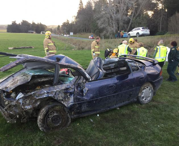 Emergency services attend the scene of a crash near Balclutha earlier today. Photo: Supplied