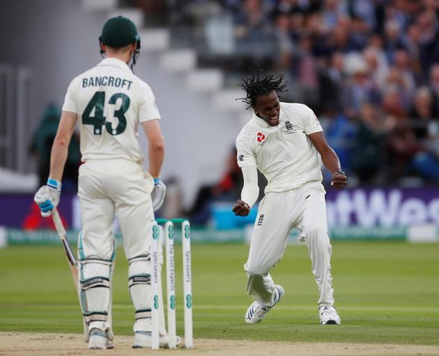 England's Jofra Archer celebrates taking the wicket of Australia's Cameron Bancroft. Photo: Action Images via Reuters