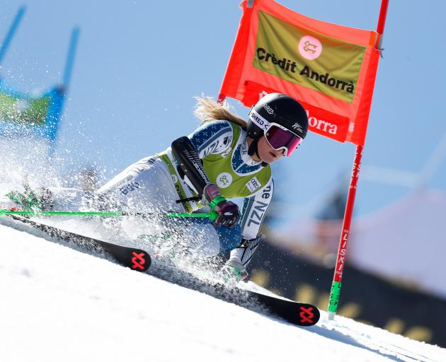 Queenstown's Alice Robinson competes during the FIS Alpine Ski World Cup women's giant slalom in...