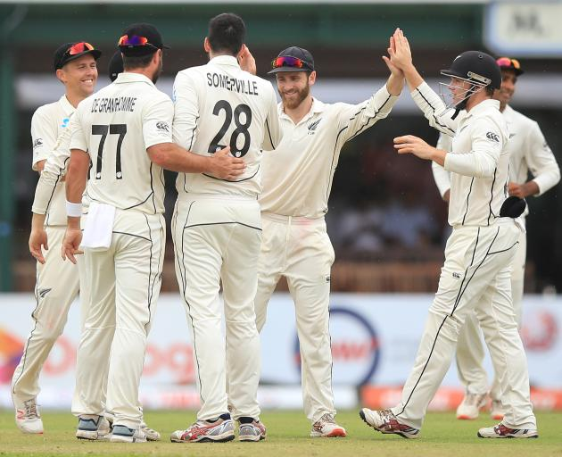The Black Caps celebrate the wicket of Lahiru Thirimanne. Photo: Getty Images