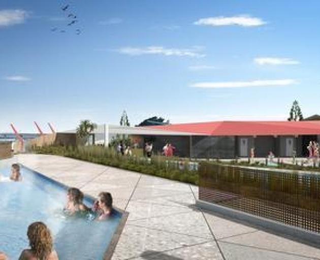 The hot pools are under construction and now the facility has a name.
