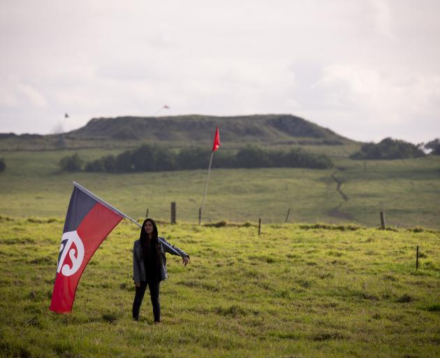 A flag-bearing protester takes a stand at Ihumatao last month. PHOTO: NZ HERALD
