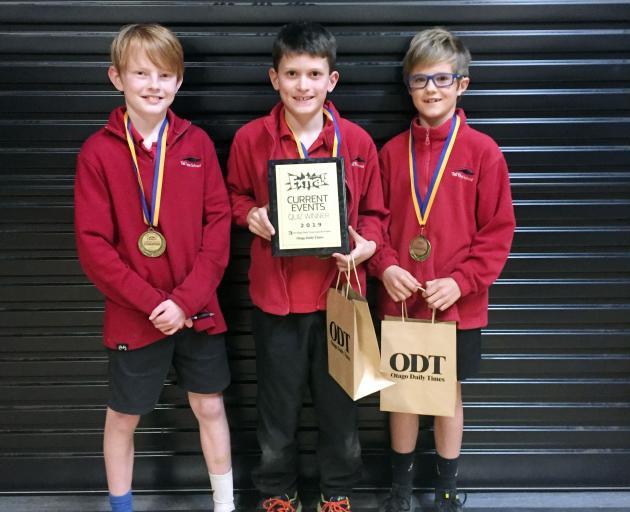Year 5 and 6 Tai Tapu champions Ethan Garrett-Burke (9), Edward Bull (10) and Caleb O'Leary (10). Photos: Claire Booker