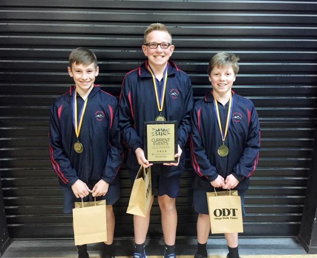 Year 7 and 8 North Loburn School winners William Hassall (12), Charley Ward (13), and Harry Witt (12).