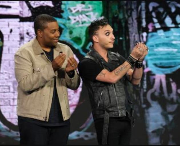Kiwi Jarred Fell (right) performing on NBC's comedy competition 'Bring the Funny' where he will compete in the semi-finals next week.