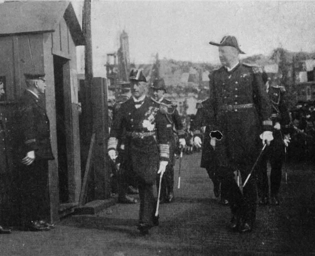 Admiral Jellicoe, who arrived in Wellington on HMS New Zealand, returning from an official visit to the Governor-General. - Otago Witness, 29.8.1919.