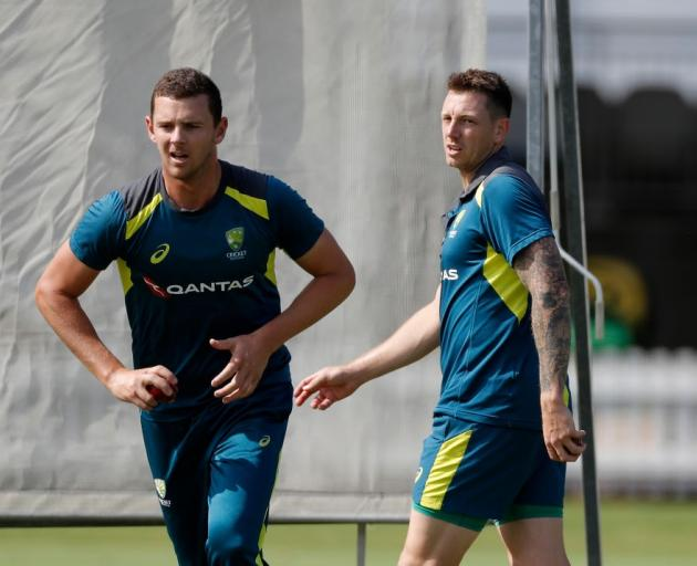 Josh Hazlewood and James Pattinson bowl in the nets in the lead up to the second Ashes test....