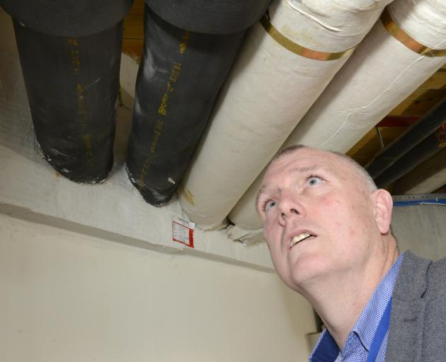 Otago Museum facilities manager Chris Patchett stands beside a recently installed fire protection...