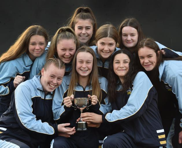 The Taieri College year 10 netball team with the trophy they won in Christchurch recently. Back row (from left): Olivia Ellis (14), Danni Thomson (14), Emma Jordan (15), Shyah Beattie (14), Camryn Tizard (14), Piper Smith (14). Front row: Eilish Fright (1