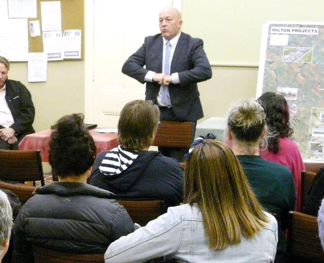 Clutha Mayor Bryan Cadogan encourages Milton residents to join forces to raise funds for the town's new $5.8million pool and service centre complex, during a meeting in the town on Monday. Photo: Richard Davison