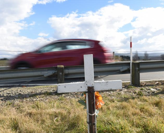 Roadside memorials, such as this  one on State Highway 1 north of Dunedin, have very little...