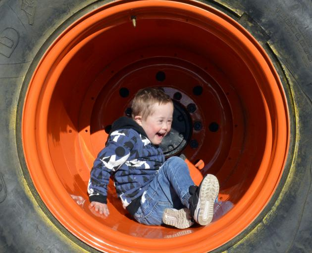 Miller Hooper (4), of Dunedin, finds a wee space of peace and quiet within a giant tyre before...